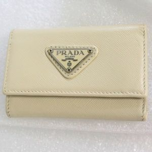 PRADA Leather 6-Key Holder Case Trifold Wallet